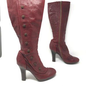 FRYE MATILDA Cranberry Red Leather Boots